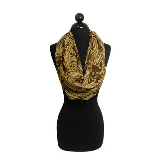 Peach Couture Women's Brown Paisley Loop Scarf