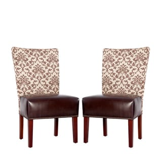 Portfolio Duet Emma Pecan Fabric and Coffee Brown Renu Leather Armless Chair (Set of 2)