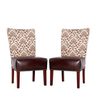 Portfolio Duet Emma Pecan Fabric and Coffee Brown Renu Leather Armless Chair (Set of 2)