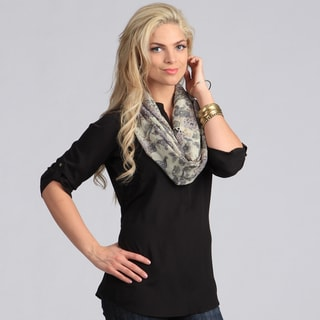 Peach Couture Women's Tan Paisley Infinity Loop Scarf
