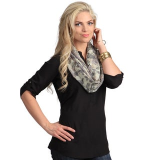 Peach Couture Women&#39;s Tan Paisley Infinity Loop Scarf