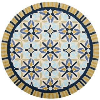 Safavieh Four Seasons Stain Resistant Hand-hooked Tan Rug (6' Round)