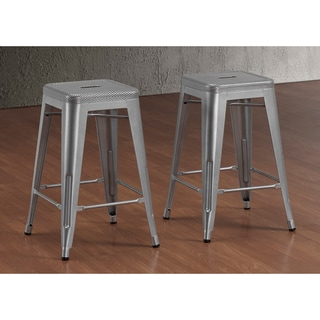 Tabouret 24-inch Perforated Steel Counter Stools (Set of 2)
