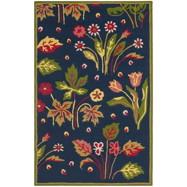 Safavieh Four Seasons Stain Resistant Hand-hooked Navy Rug (2'6 x 4')