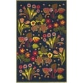 Safavieh Four Seasons Stain Resistant Hand-hooked Navy Rug (5' x 8')