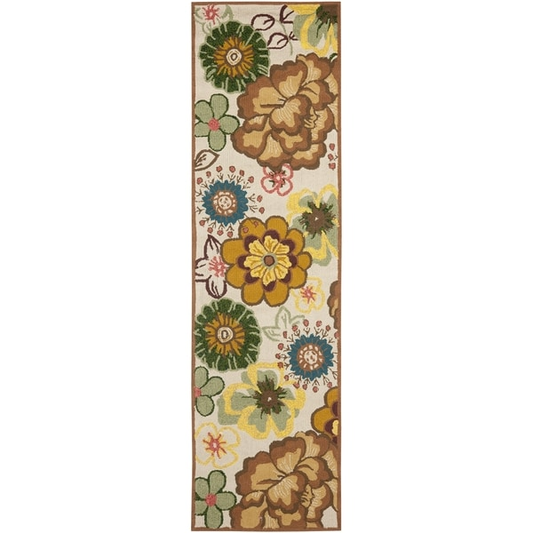 """Safavieh Four Seasons Stain-Resistant Hand-Hooked Floral Pattern Ivory Rug (2'3"""" x 8')"""