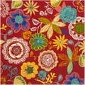 Safavieh Four Seasons Stain Resistant Hand-hooked Red Rug (6' Square)