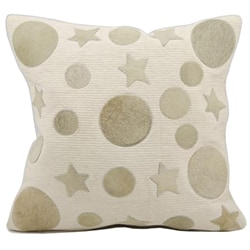 Mina Victory All Over Moons and Stars Ivory Natural Leather Hide 20 x 20-inch Pillow by Nourison