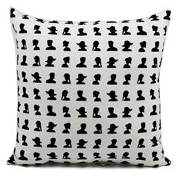 Mina Victory Life Styles Black/White Allover People Silhouette 18 x 18-inch Pillow by Nourison
