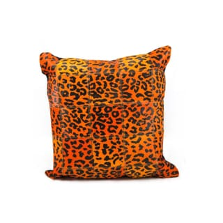 Mina Victory Orange Leopard Print Natural Leather Hide 20 x 20-inch Pillow by Nourison