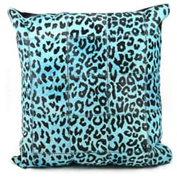 Mina Victory Turquoise Leopard Print Natural Leather Hide 20 x 20-inch Pillow by Nourison