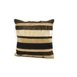 Mina Victory Brown Stripe Natural Leather Hide 20 x 20-inch Decorative Pillow by Nourison