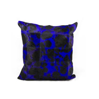 Mina Victory Purple Large Leopard Print Natural Leather Hide 20 x 20-inch Pillow by Nourison
