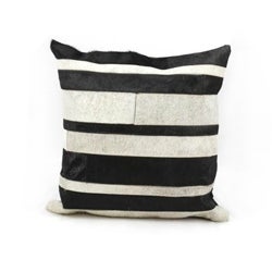 Mina Victory Black/White Stripe Natural Leather Hide 20 x 20-inch Pillow by Nourison