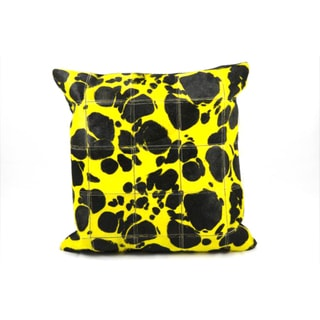 Mina Victory Yellow Large Leopard Print Natural Leather Hide 20 x 20-inch Pillow by Nourison