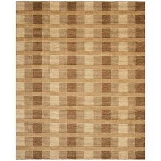 Hand-knotted Tibetan Squares Brown Wool Rug (9' x 12')