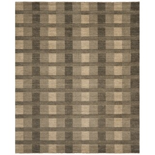 Hand-knotted Tibetan Squares Charcoal Grey Wool Rug (4'x 6')