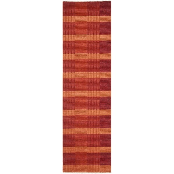 Safavieh Hand-knotted Tibetan Squares Red Wool Rug (2' x 8')