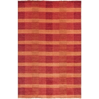 Safavieh Hand-knotted Tibetan Squares Red Wool Rug (8' x 10')