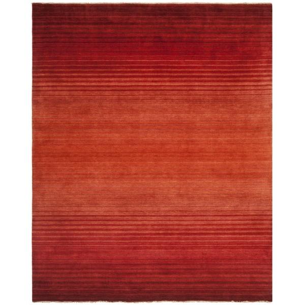 Safavieh Hand-knotted Tibetan Stripes Rust Wool Rug (8' x 10')
