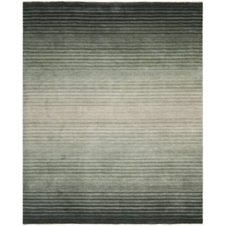 Hand-knotted Tibetan Stripes Dark Blue Wool Rug (9' x 12')