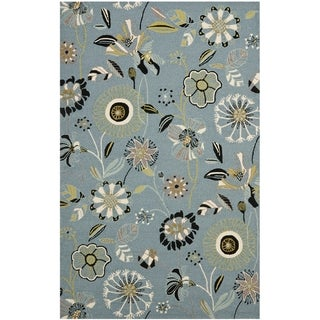 Contemporary Safavieh Four Seasons Stain Resistant Hand-Hooked Blue Rug (5' x 8')