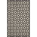"Safavieh Four Seasons Stain-Resistant Hand-Hooked Diamond-Patterned Black Rug (3' 6"" x 5' 6"")"