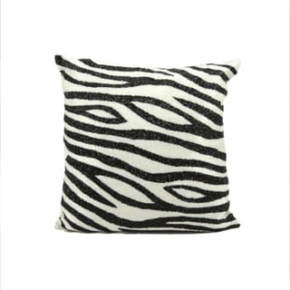 Mina Victory Luminecence Beaded Zebra Black/ White 20 x 20-inch Pillow by Nourison