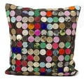 Mina Victory Multi Color Circle Natural Leather Hide 20 x 20-inch Pillow by Nourison