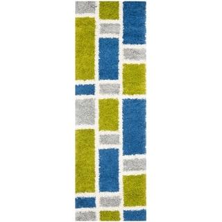 Safavieh Deco Squares Blue Shag Rug (2'3 x 7')