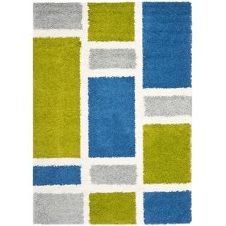Safavieh Deco Squares Blue Shag Rug (4' x 6')