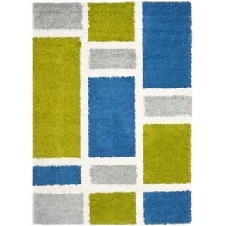 Safavieh Deco Squares Blue Shag Rug (5'3 x 7'6)
