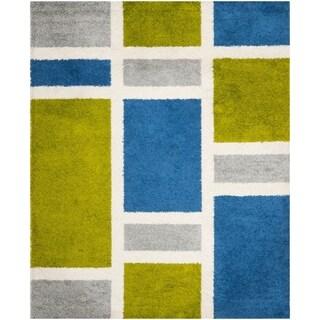 Safavieh Deco Squares Blue Shag Rug (8' x 10')