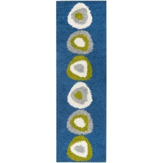 Deco Quad Blue Shag Rug (2'3 x 7')