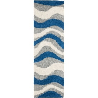 Deco Waves Blue Shag Rug (2' 3 x 7')