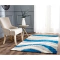 Deco Waves Blue Shag Rug (4' x 6')