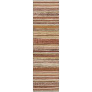 Safavieh Tapestry-woven Striped Kilim Village Beige Wool Rug (2'3 x 8')