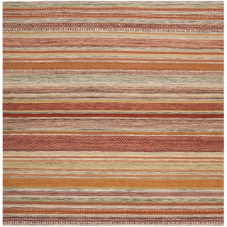 Tapestry-woven Striped Kilim Village Beige Wool Rug (7' Square)
