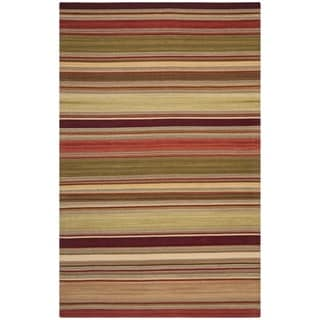 Tapestry-woven Striped Kilim Village Red Wool Rug (6' x 9')