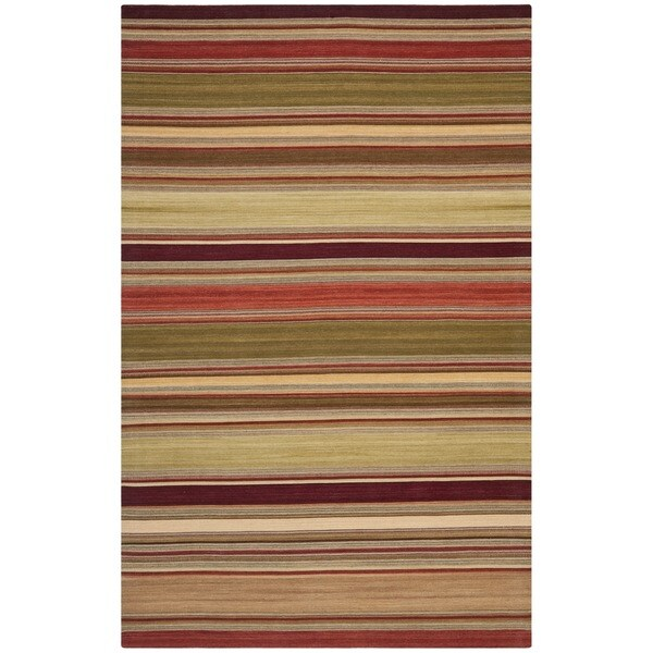 Safavieh Tapestry-woven Striped Kilim Village Red Wool Rug (6' x 9')