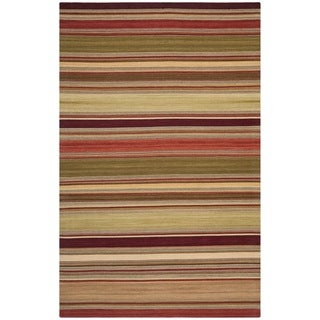 Tapestry-woven Striped Kilim Village Red Wool Rug (8' x 10')