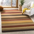 Tapestry-woven Striped Kilim Village Gold Wool Rug (7' Square)