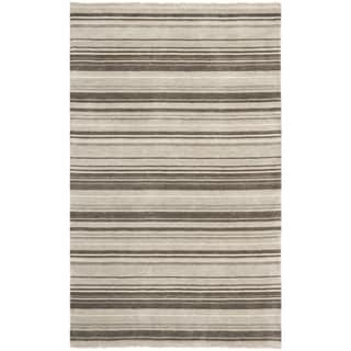 Safavieh Hand-knotted Tibetan Stripes Silver Wool Rug (8' x 10')