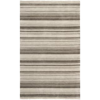 Hand-knotted Tibetan Stripes Silver Wool Rug (9' x 12')