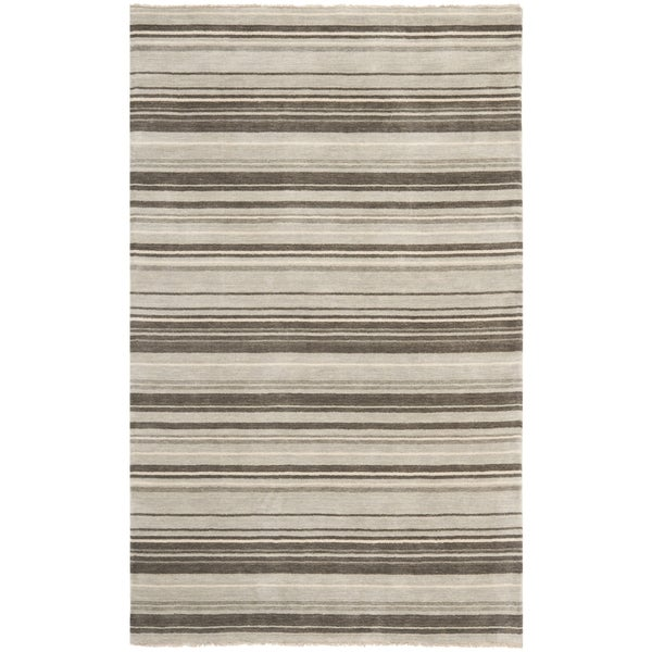 Safavieh Hand-knotted Tibetan Stripes Silver Wool Rug (9' x 12')
