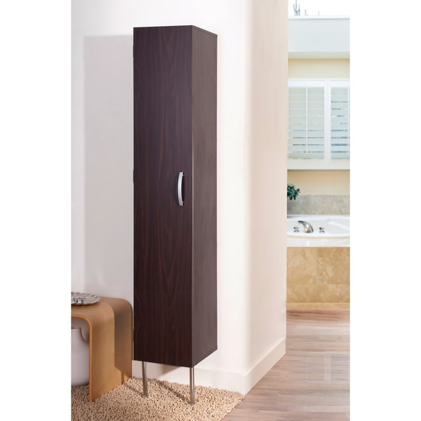 Furniture of America Zarina Walnut 6-shelf Wall-mounted Bathroom Tower Cabinet