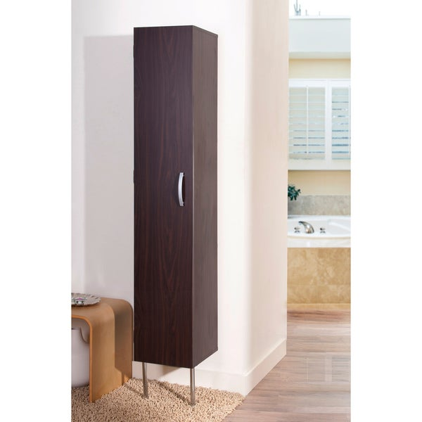 of america zarina walnut 6 shelf wall mounted bathroom tower cabinet