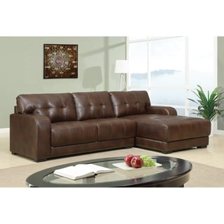 Brown Bonded Leather Sectional