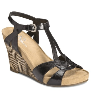 A2 by Aerosoles Women's Black 'Plushfever' Wedge Sandals