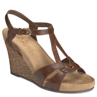 A2 by Aerosoles Women's Brown 'Plushfever' Wedge Sandals